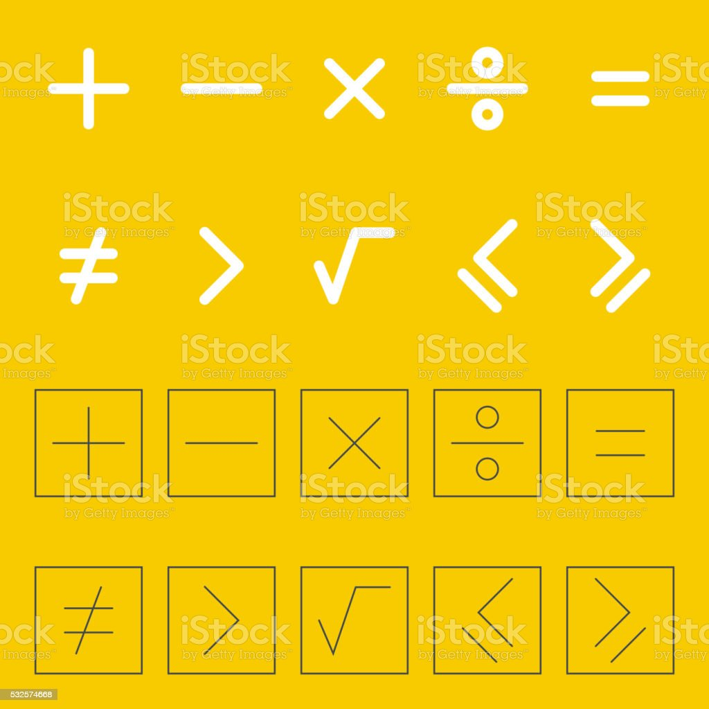 Icons mathematical signs. vector art illustration