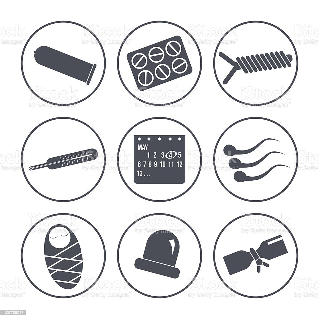 Icons methods of contraception vector art illustration
