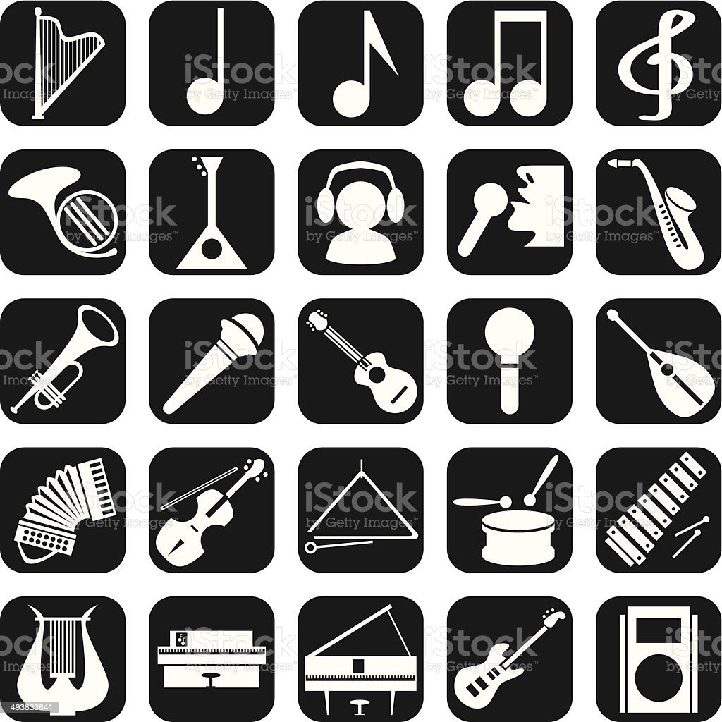 Icons musical instruments royalty-free stock vector art