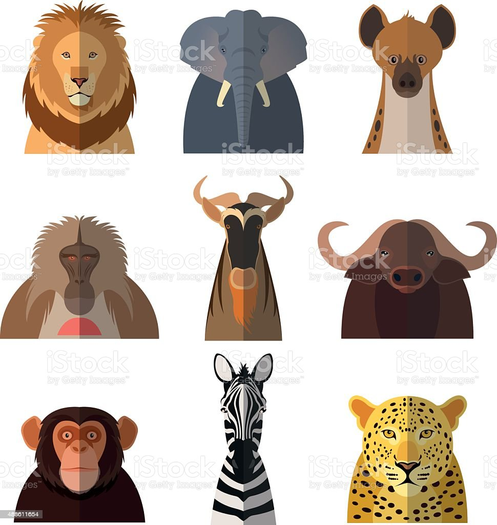 Icons of african animals2 vector art illustration