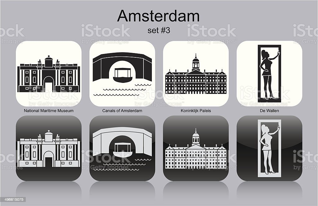 Icons of Amsterdam royalty-free stock vector art