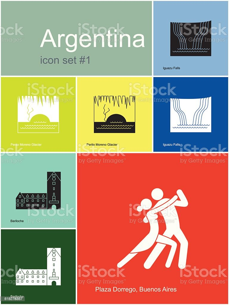 Icons of Argentina vector art illustration