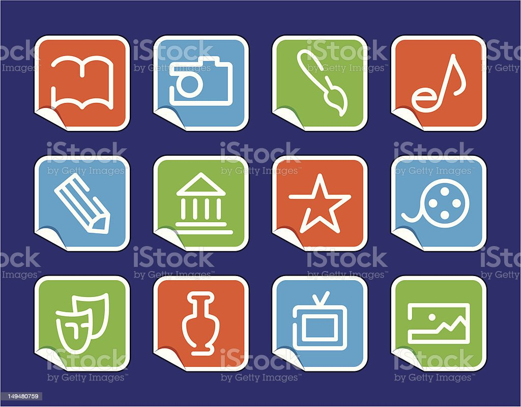 Icons of arts on stickers royalty-free stock vector art