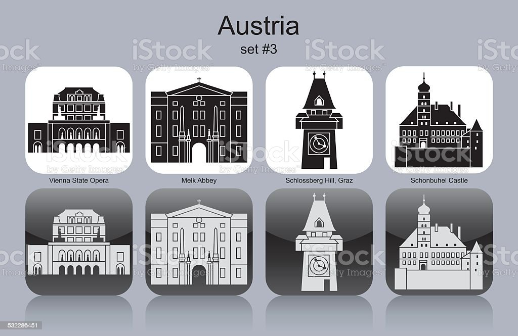 Icons of Austria vector art illustration
