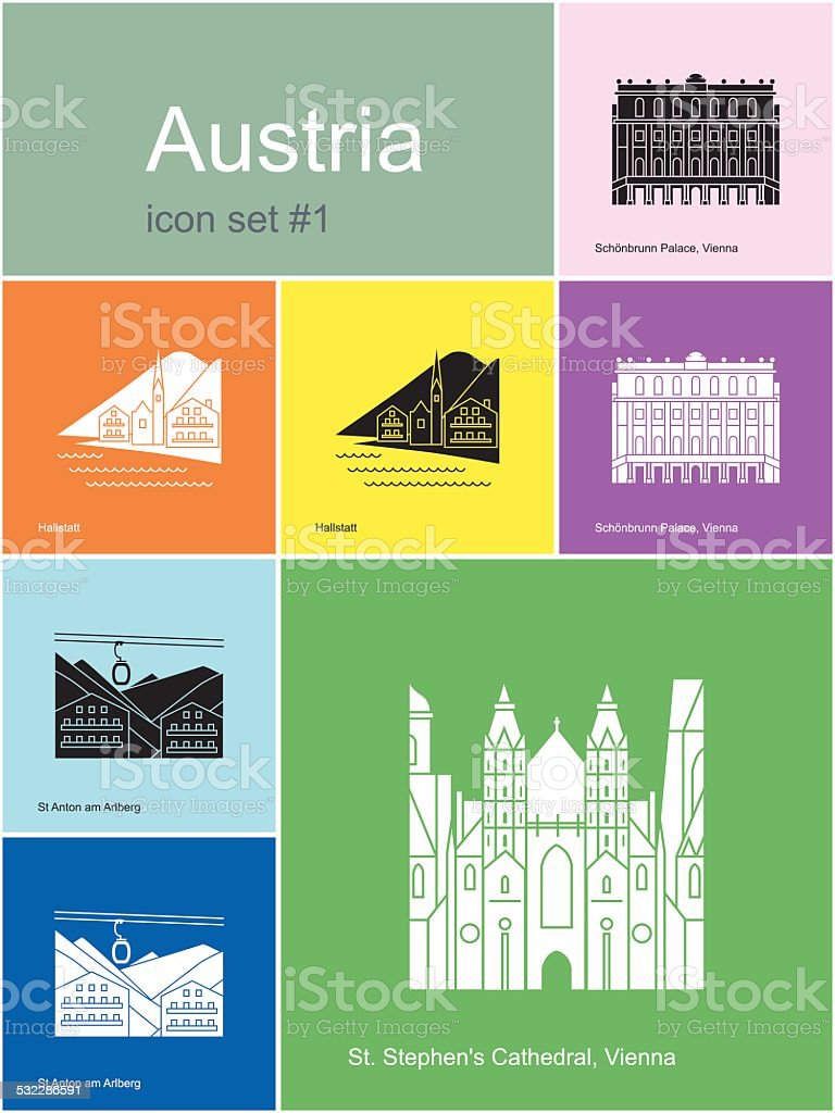 Icons of Austria vector art illustration