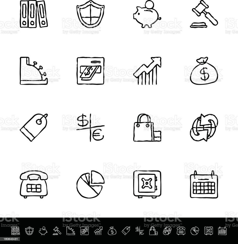 Icons of banking in black and white royalty-free stock vector art
