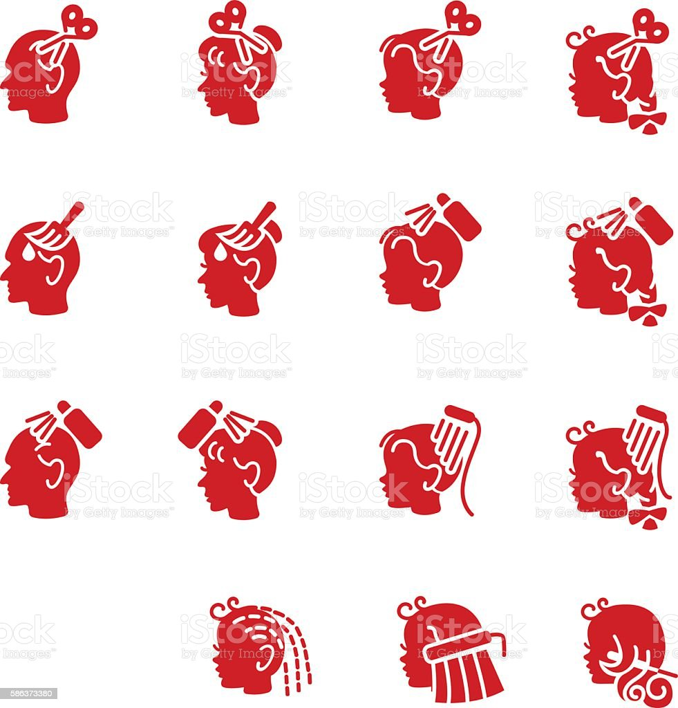 Icons of barber services for elderly people and children vector art illustration