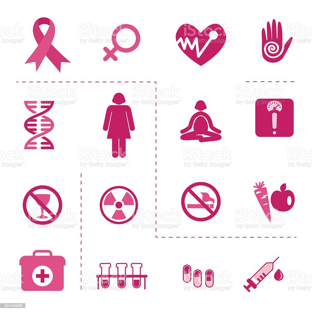 Icons of Breast Cancer Awareness vector art illustration