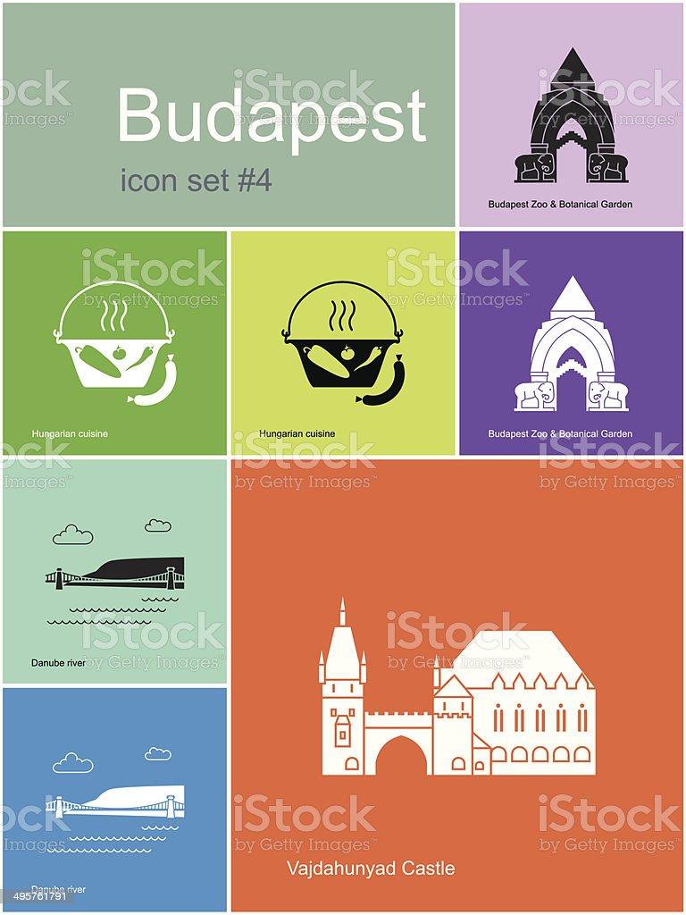 Icons of Budapest vector art illustration