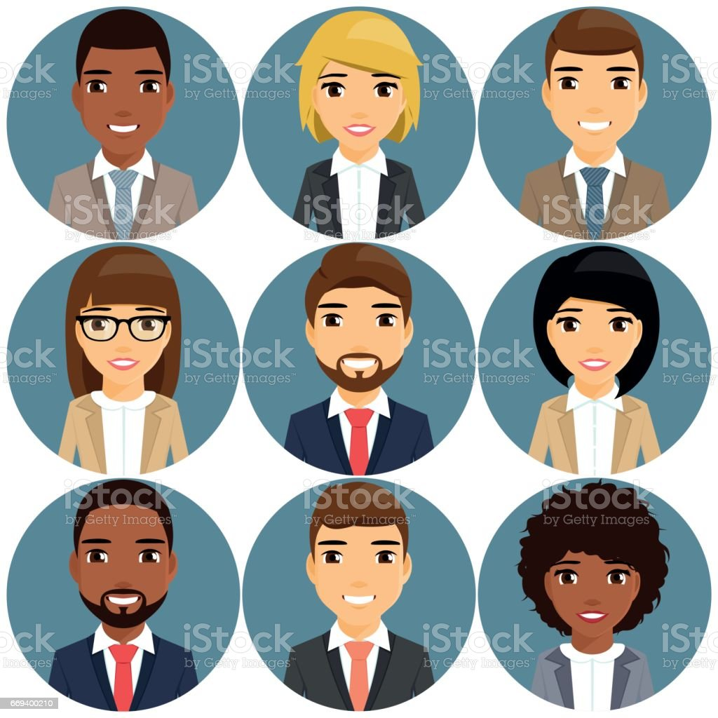 Icons of businessmen depicted in a portrait style. vector art illustration