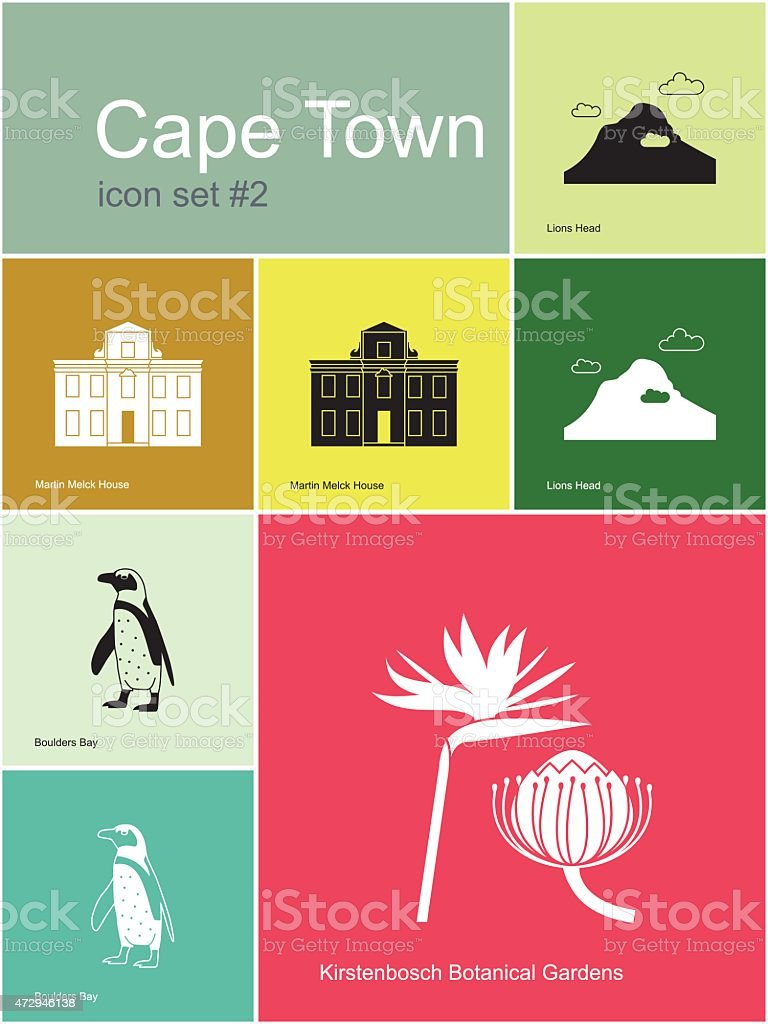 Icons of Cape Town vector art illustration