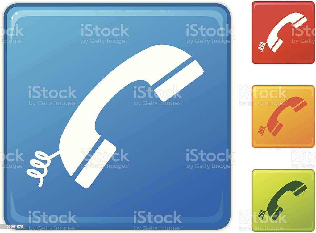 Icons of colorful telephone receivers vector art illustration