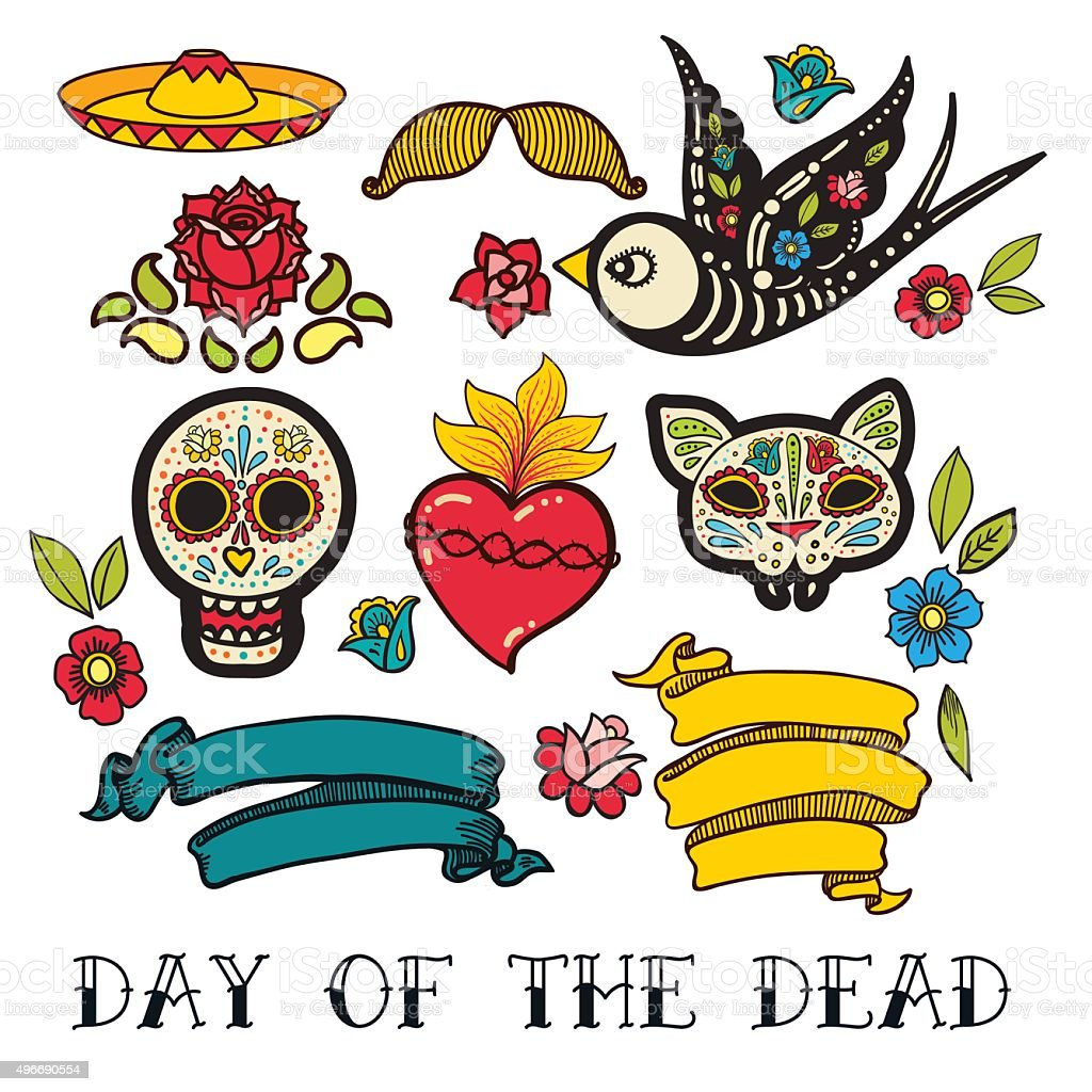 Icons of Day of the Dead sticker vector art illustration