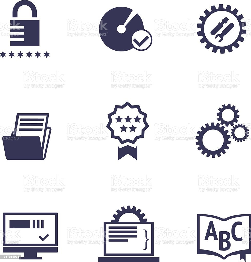 Icons of different services of IT company vector art illustration