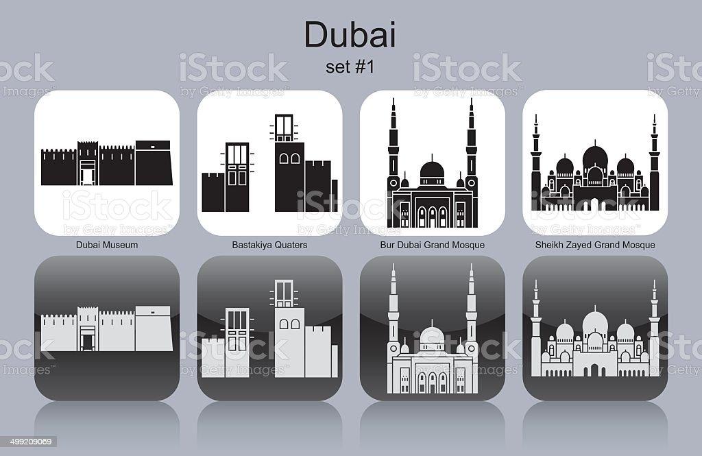 Icons of Dubai vector art illustration