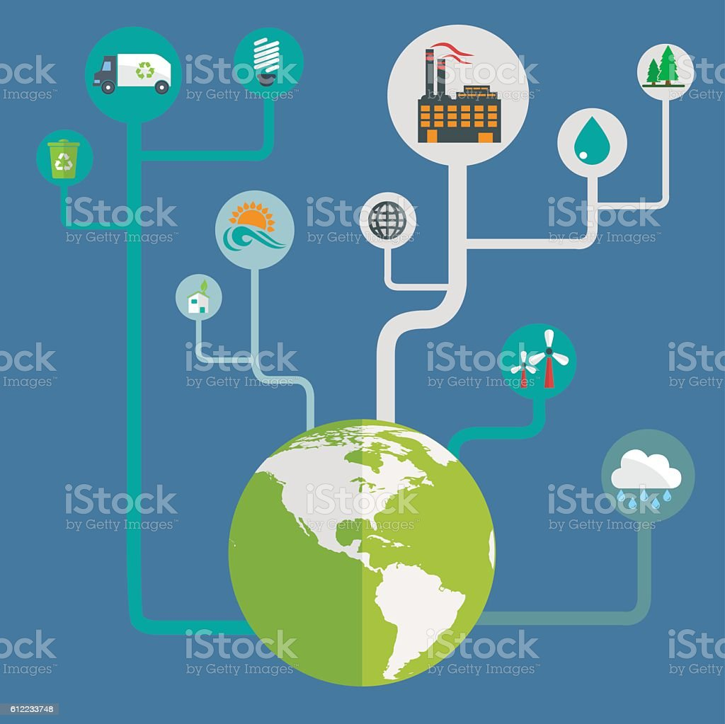 Icons of ecology, environment, green energy and pollution vector art illustration