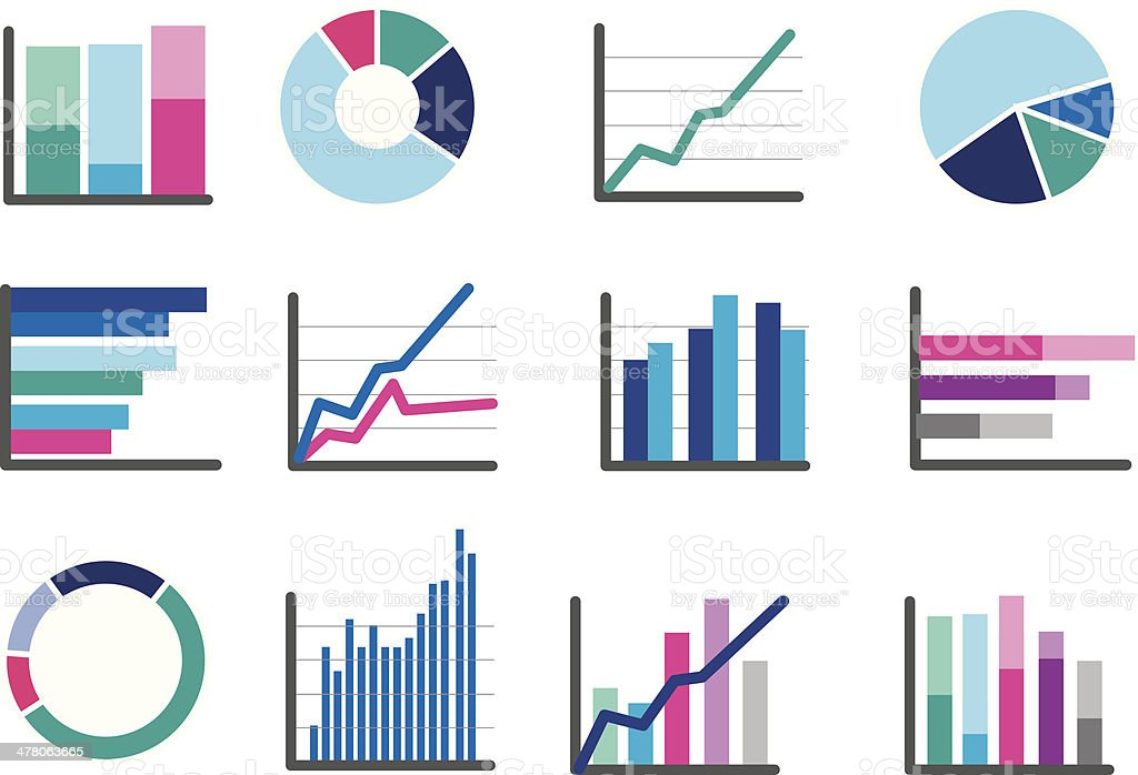 icons of financial data money or performance graphs vector art illustration