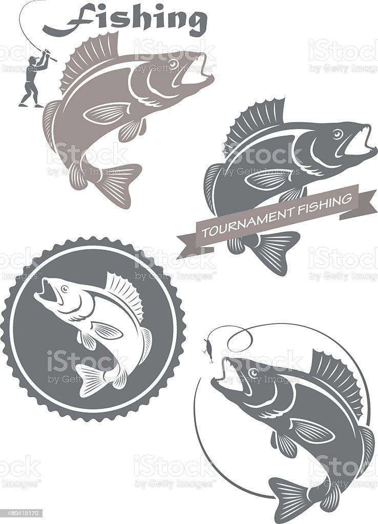 icons  of fishing vector art illustration