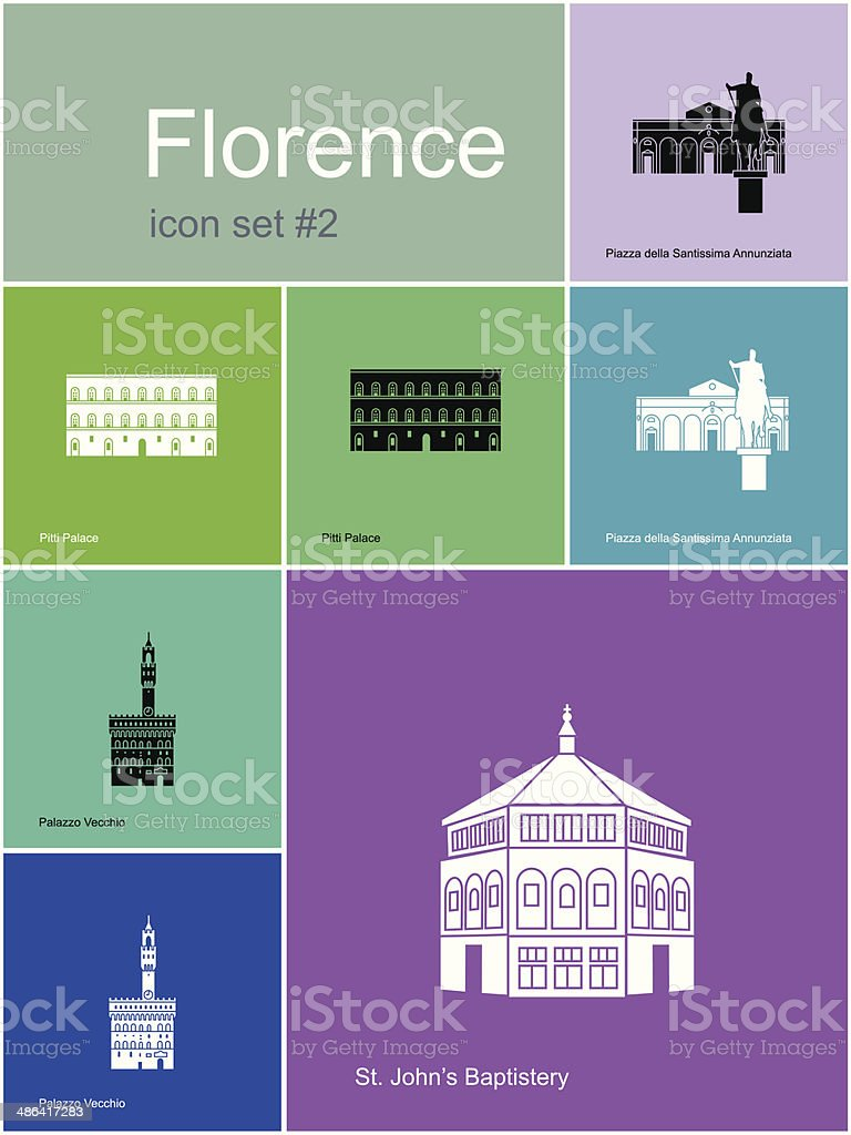 Icons of Florence vector art illustration