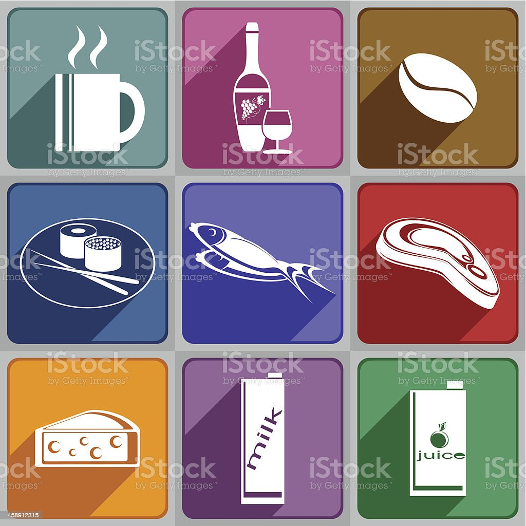Icons of food and drinks royalty-free stock vector art