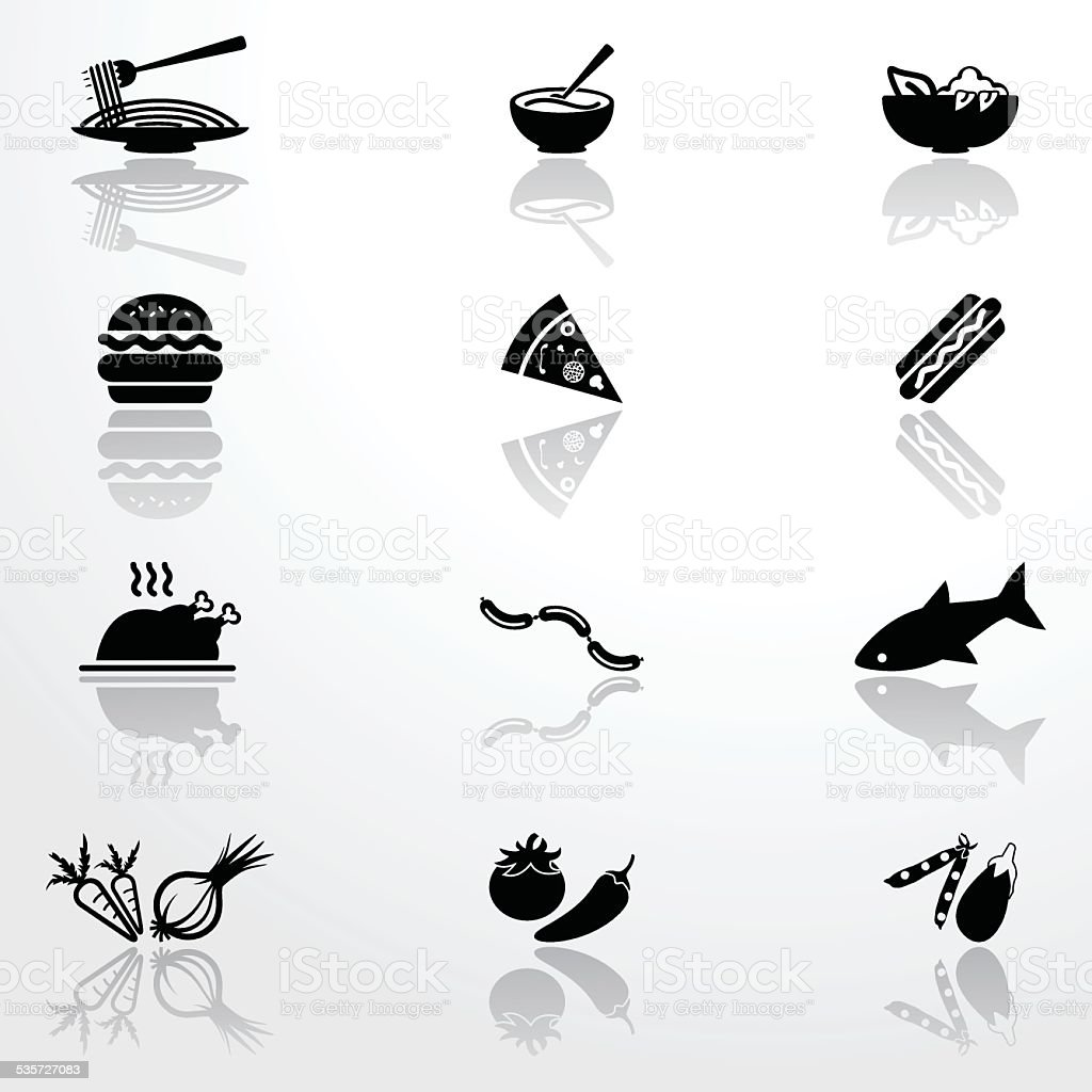 Icons of food vector art illustration