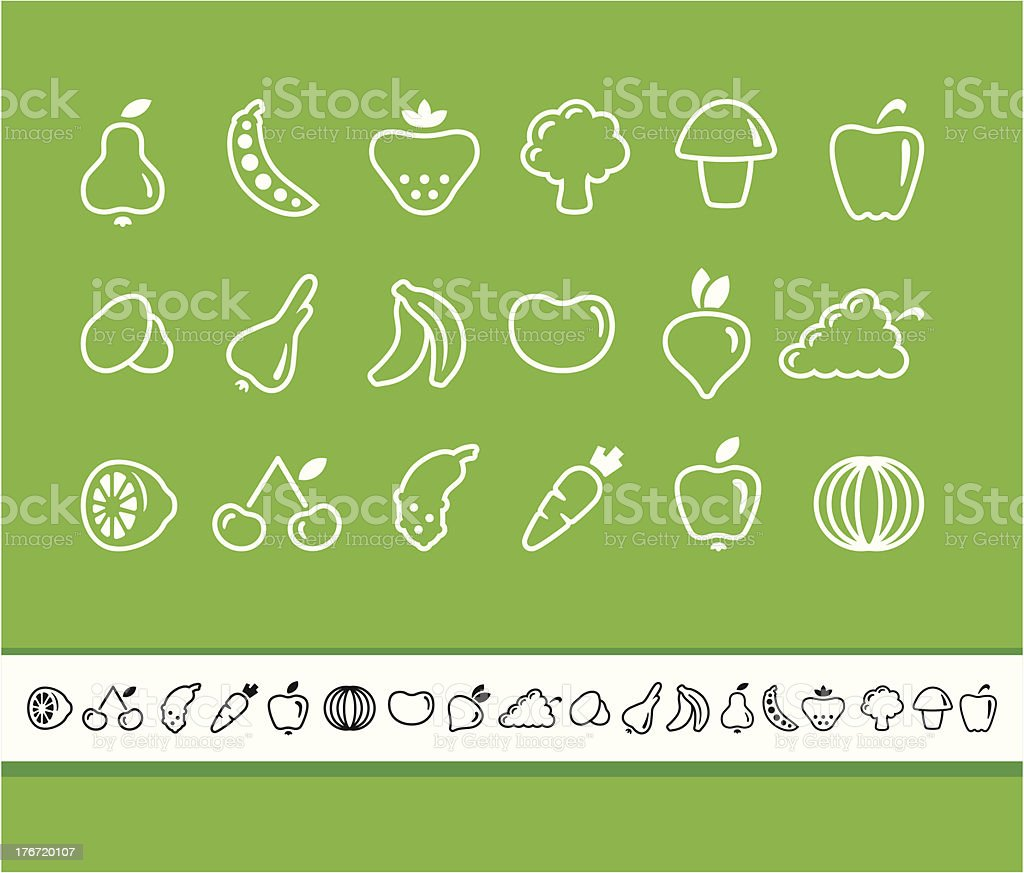 Icons of fruit and vegetables royalty-free stock vector art
