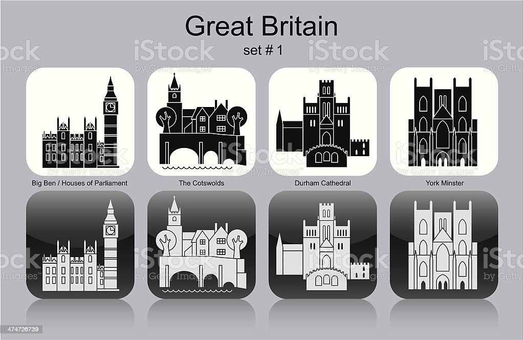 Icons of Great Britain vector art illustration