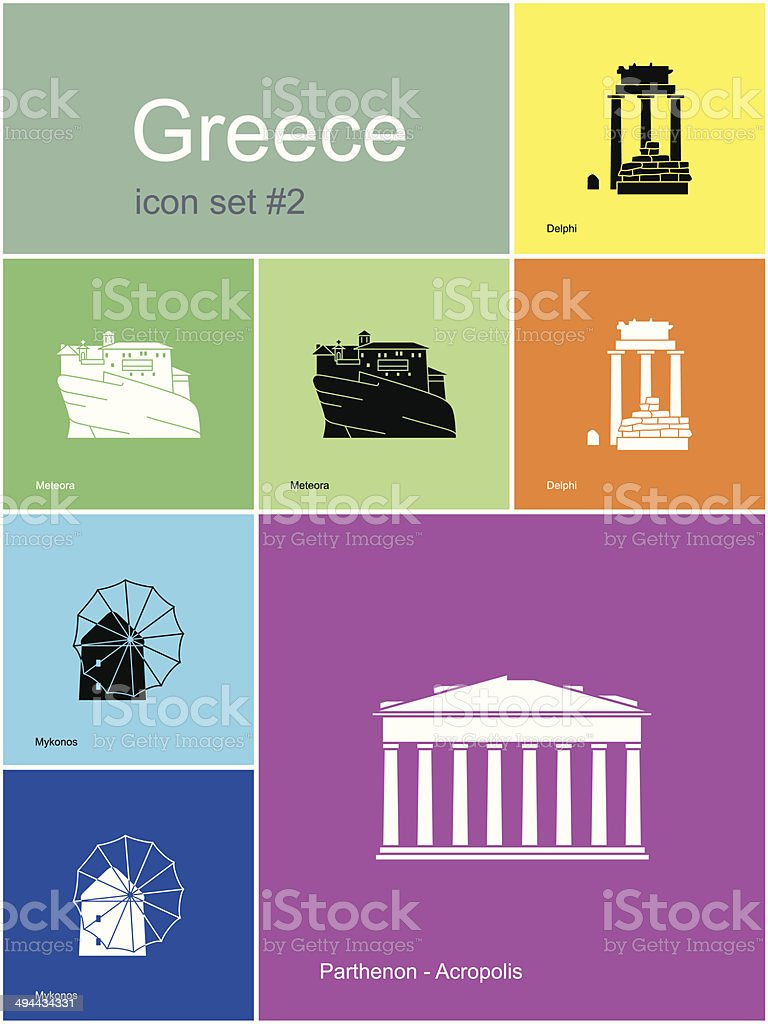 Icons of Greece vector art illustration