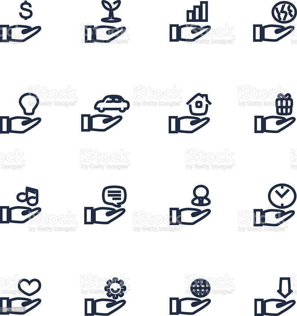 Icons of hands holding various items vector art illustration
