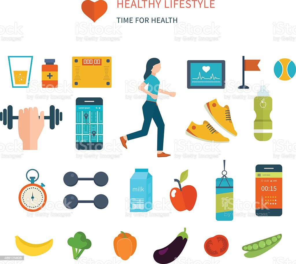 Icons of healthy lifestyle, fitness, physical activity. Healthy lifestyle concept vector art illustration