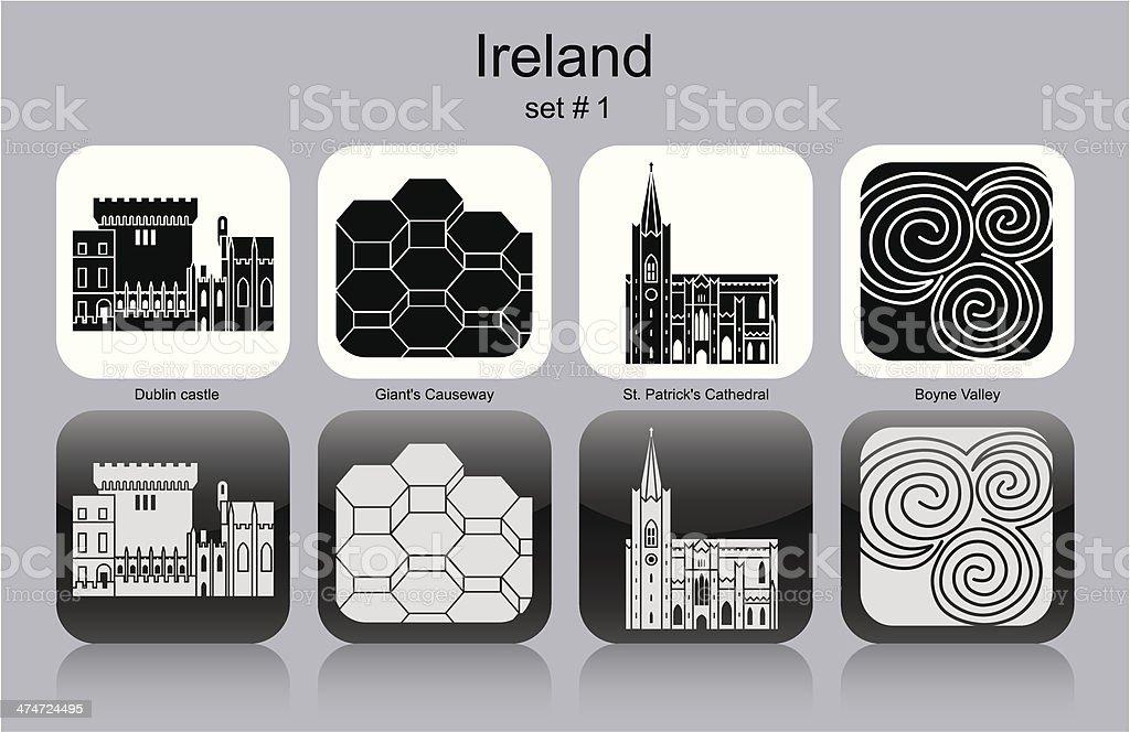 Icons of Ireland vector art illustration