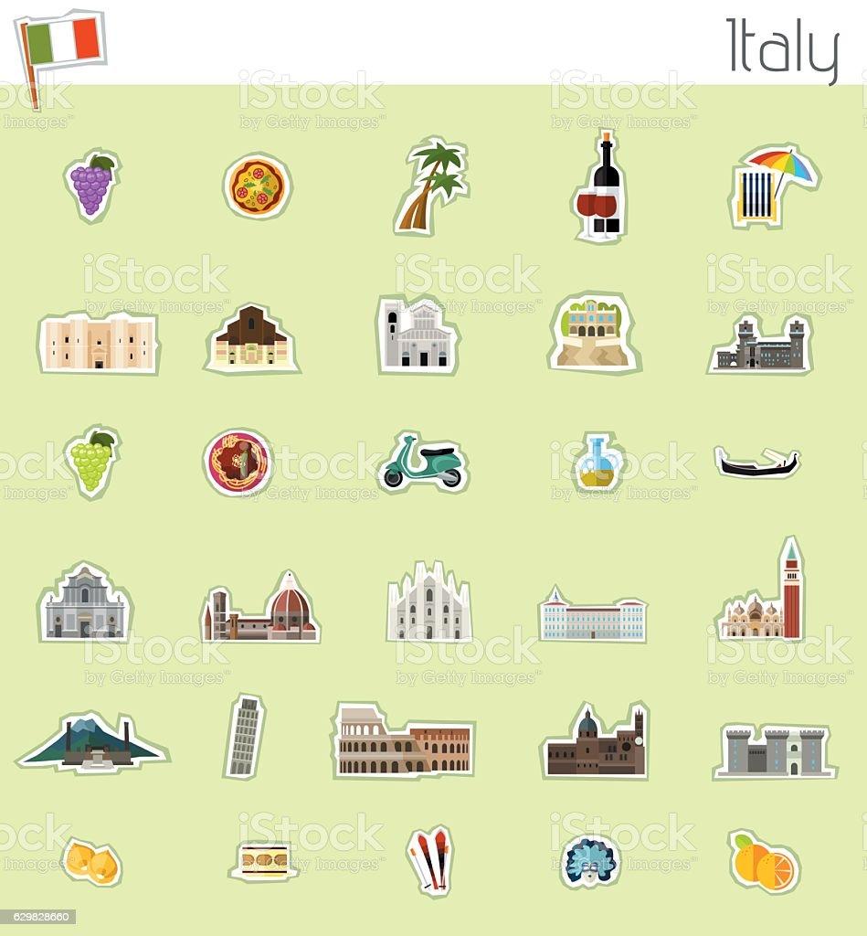 Icons of Itay vector art illustration