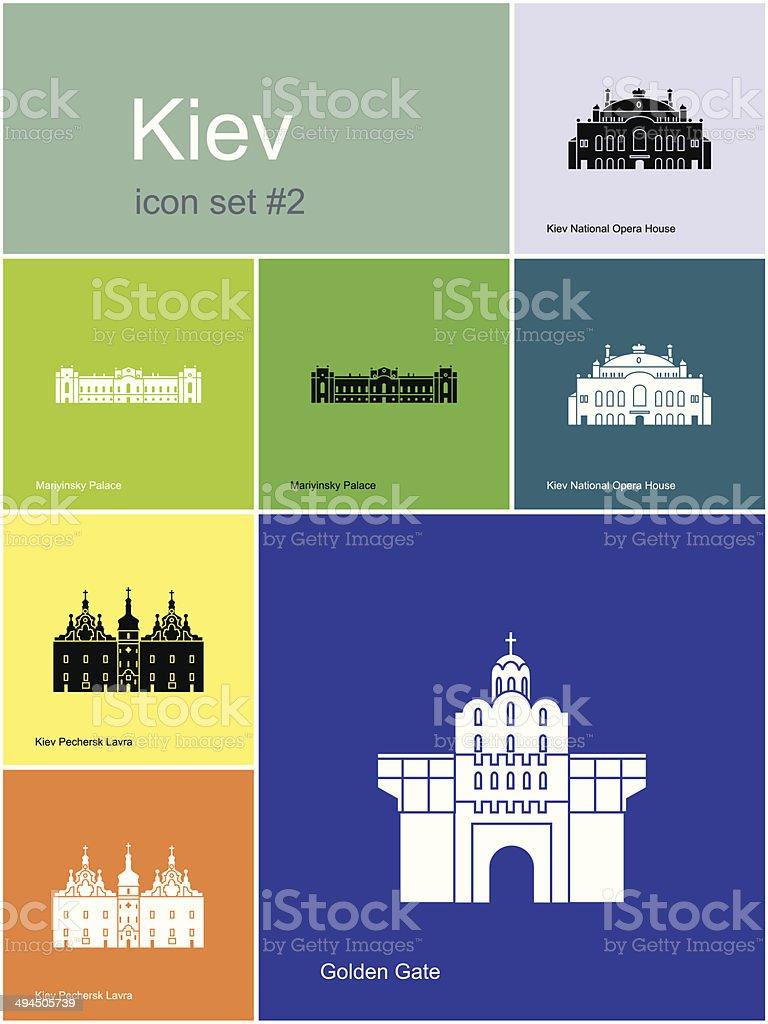 Icons of Kiev vector art illustration