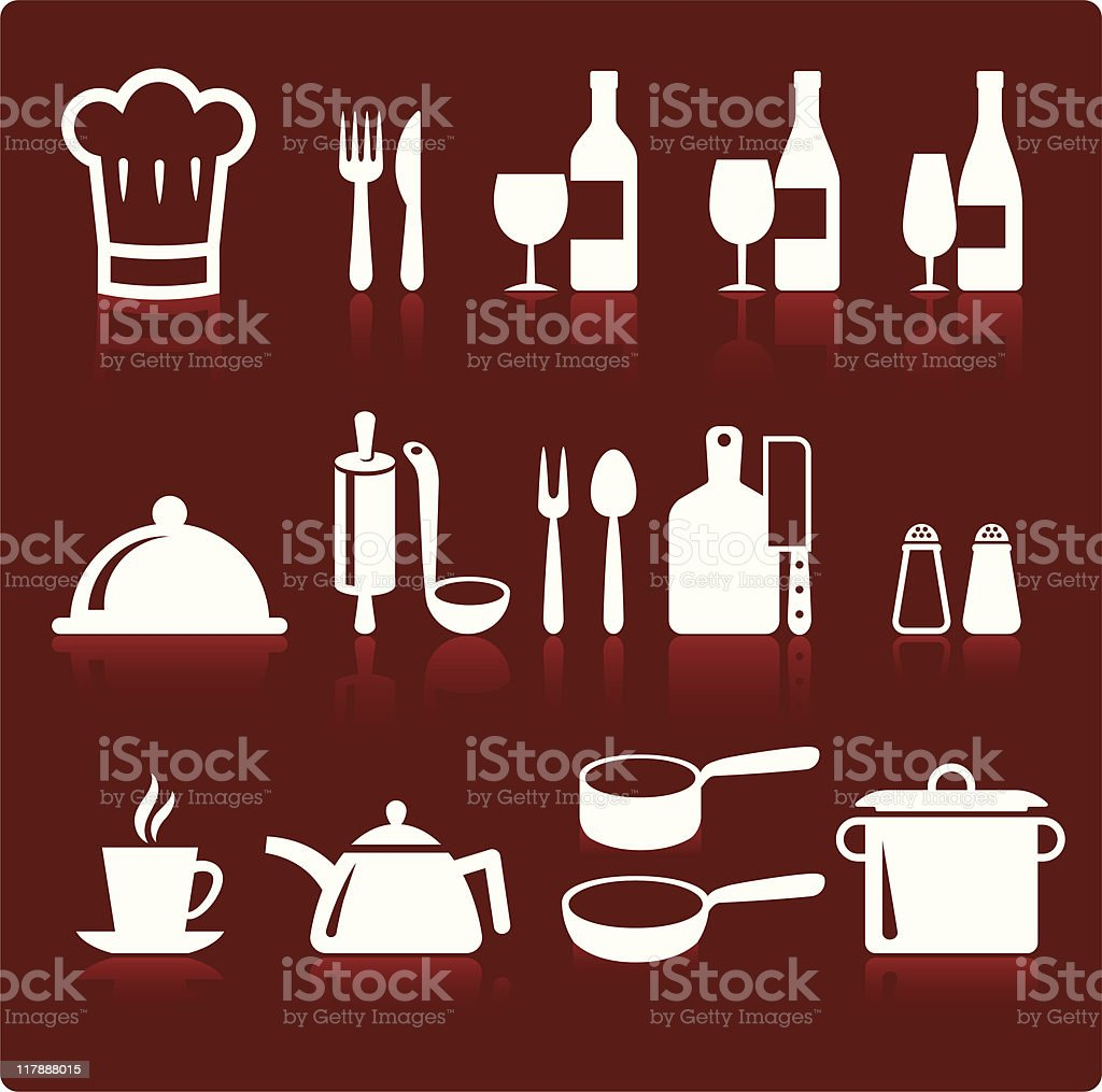 Icons of kitchen supplies and cooking icons royalty-free stock vector art