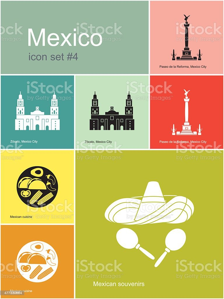 Icons of Mexico vector art illustration