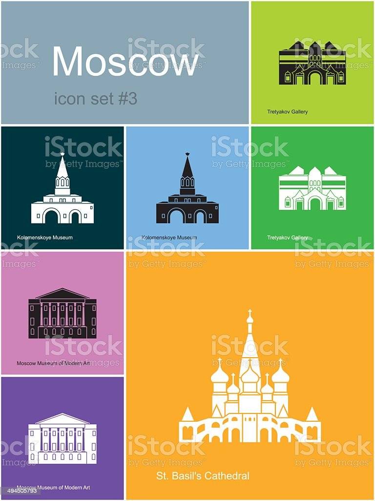 Icons of Moscow vector art illustration