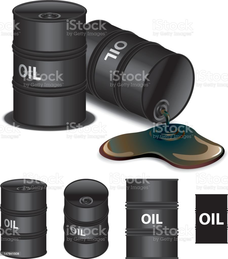 Icons of multiple oil barrels different sizes vector art illustration