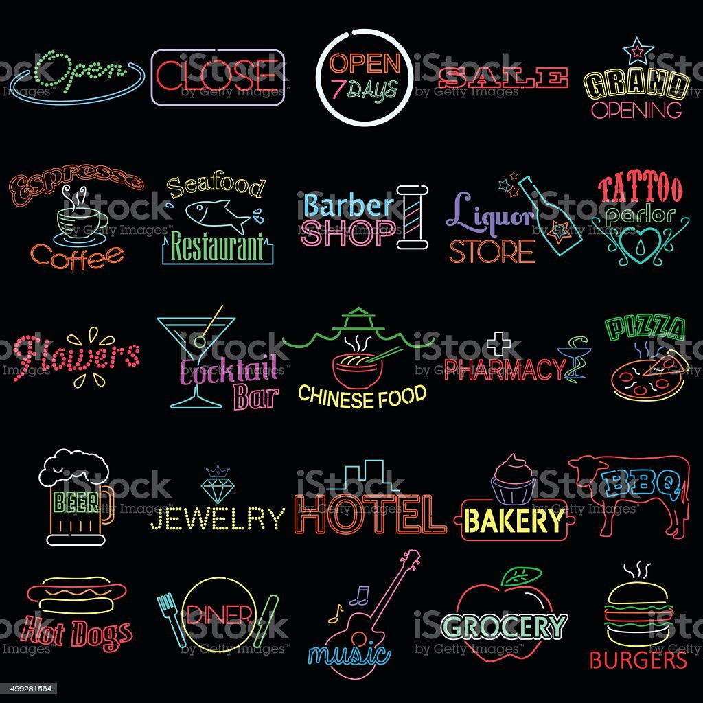 Icons of Neon Store Signs vector art illustration