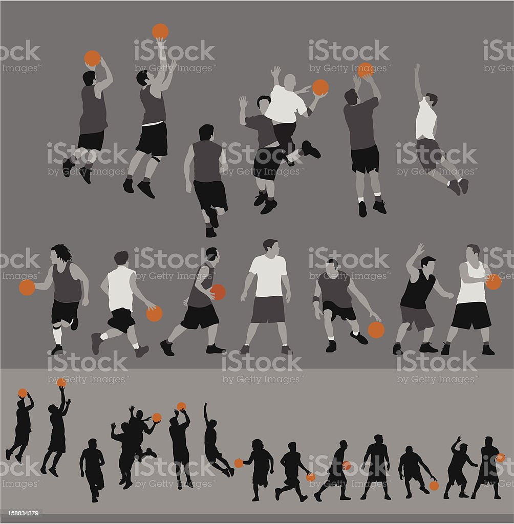 Icons of people performing basketball actions vector art illustration