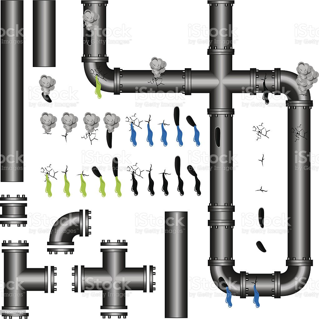 Icons of plumbing pipes, connections, and leaks vector art illustration