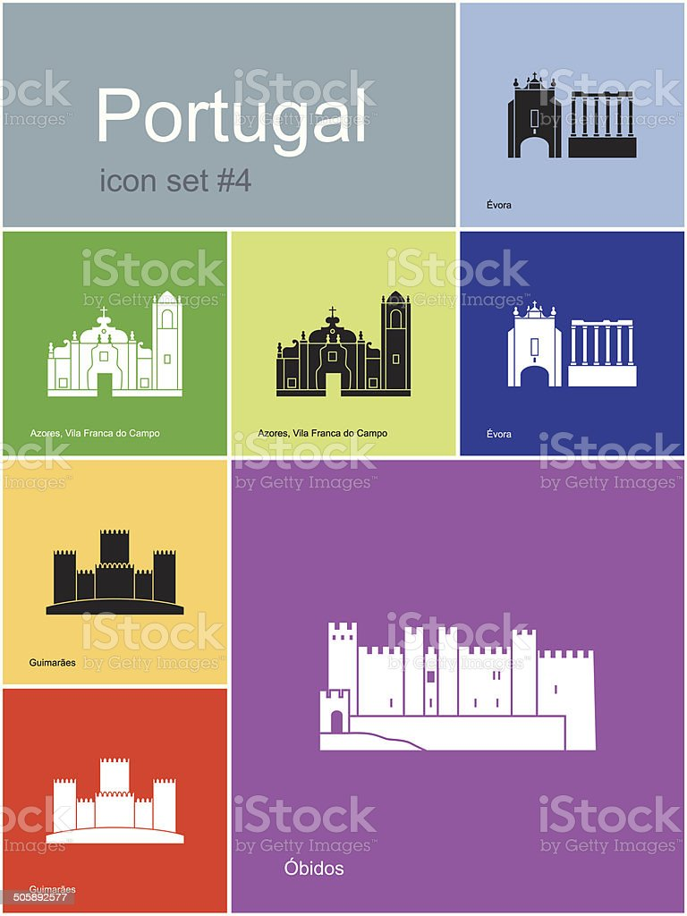 Icons of Portugal vector art illustration