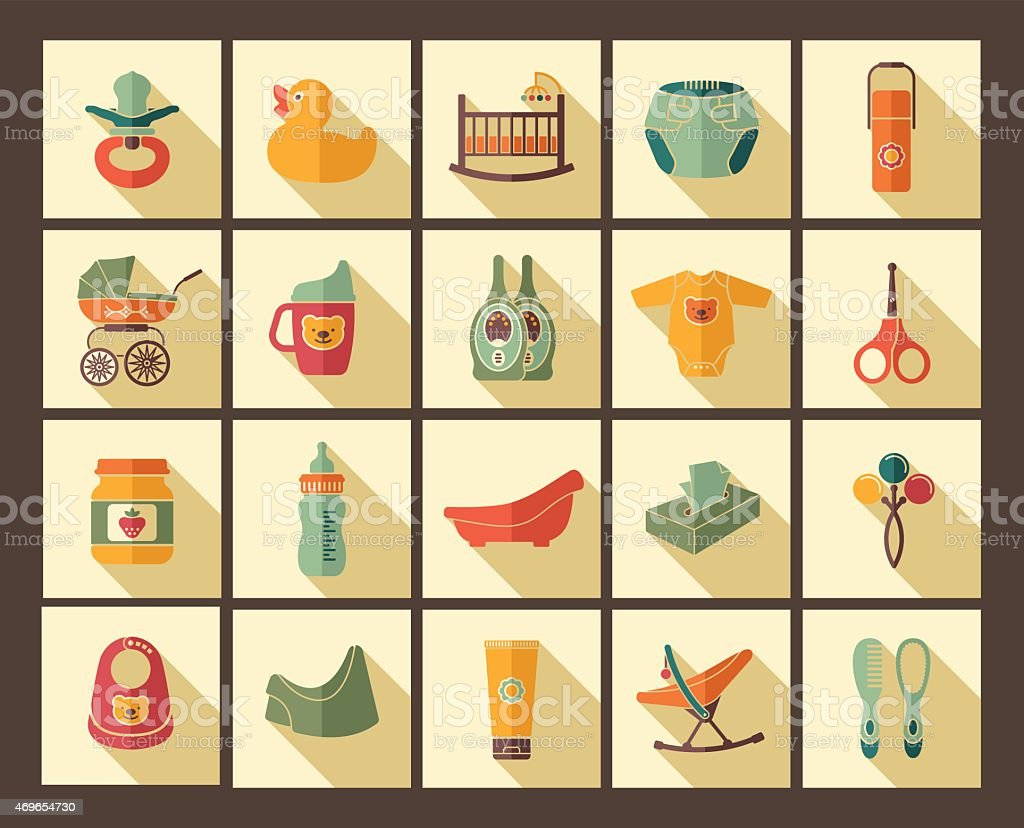 Icons of products for newborns vector art illustration
