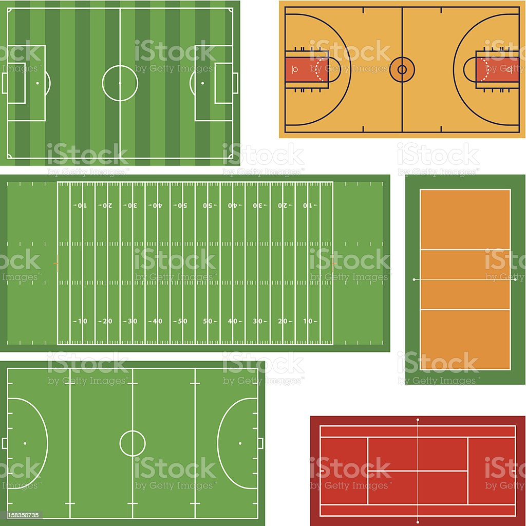 Icons of rectangular sports fields royalty-free stock vector art