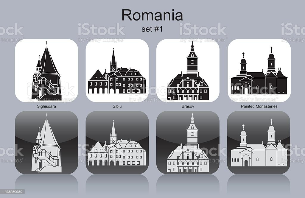 Icons of Romania vector art illustration