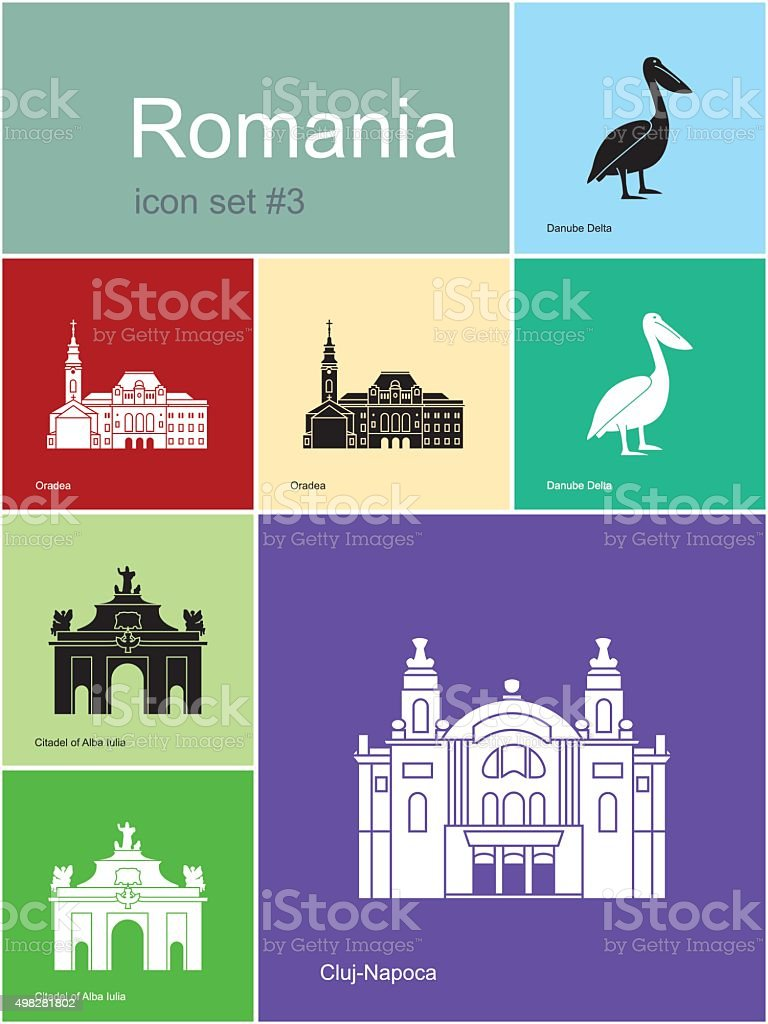 Icons of Romania vector art illustration