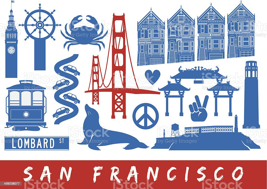 Icons of San Francisco vector art illustration