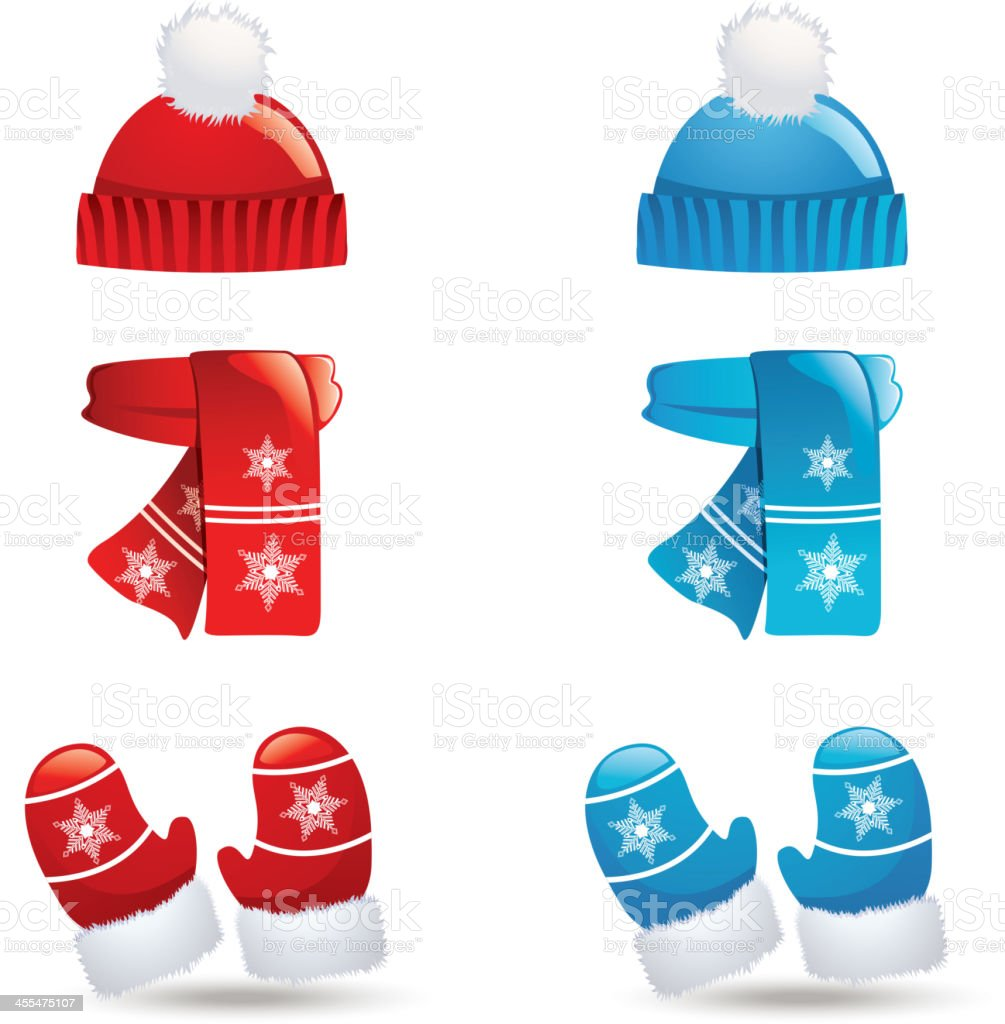 Icons of sets of hats, scarves and gloves in blue and red vector art illustration