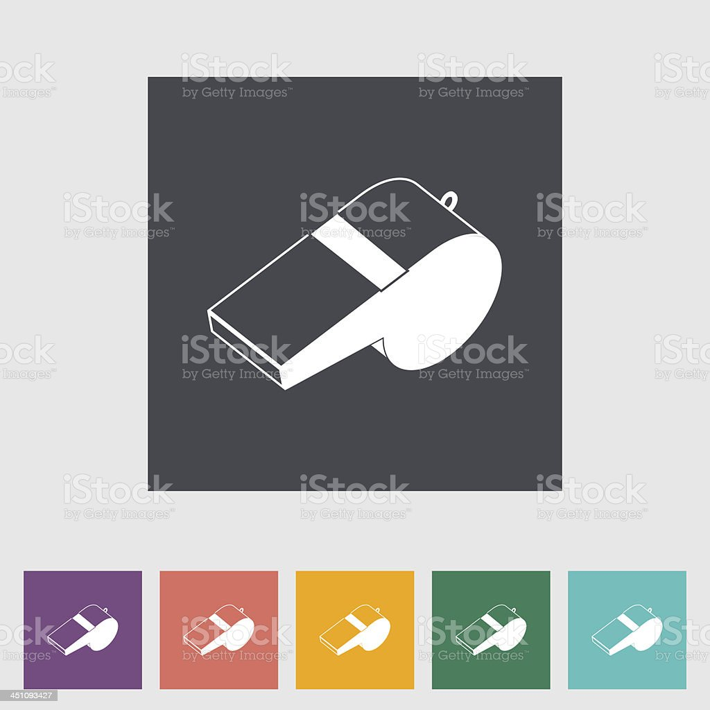 Icons of sports whistles in various colors vector art illustration