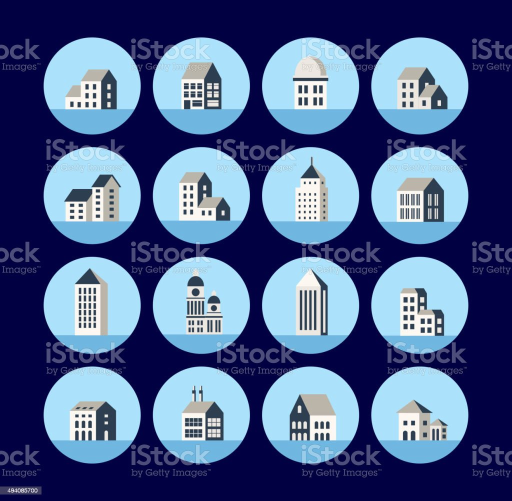 Icons of the building vector art illustration