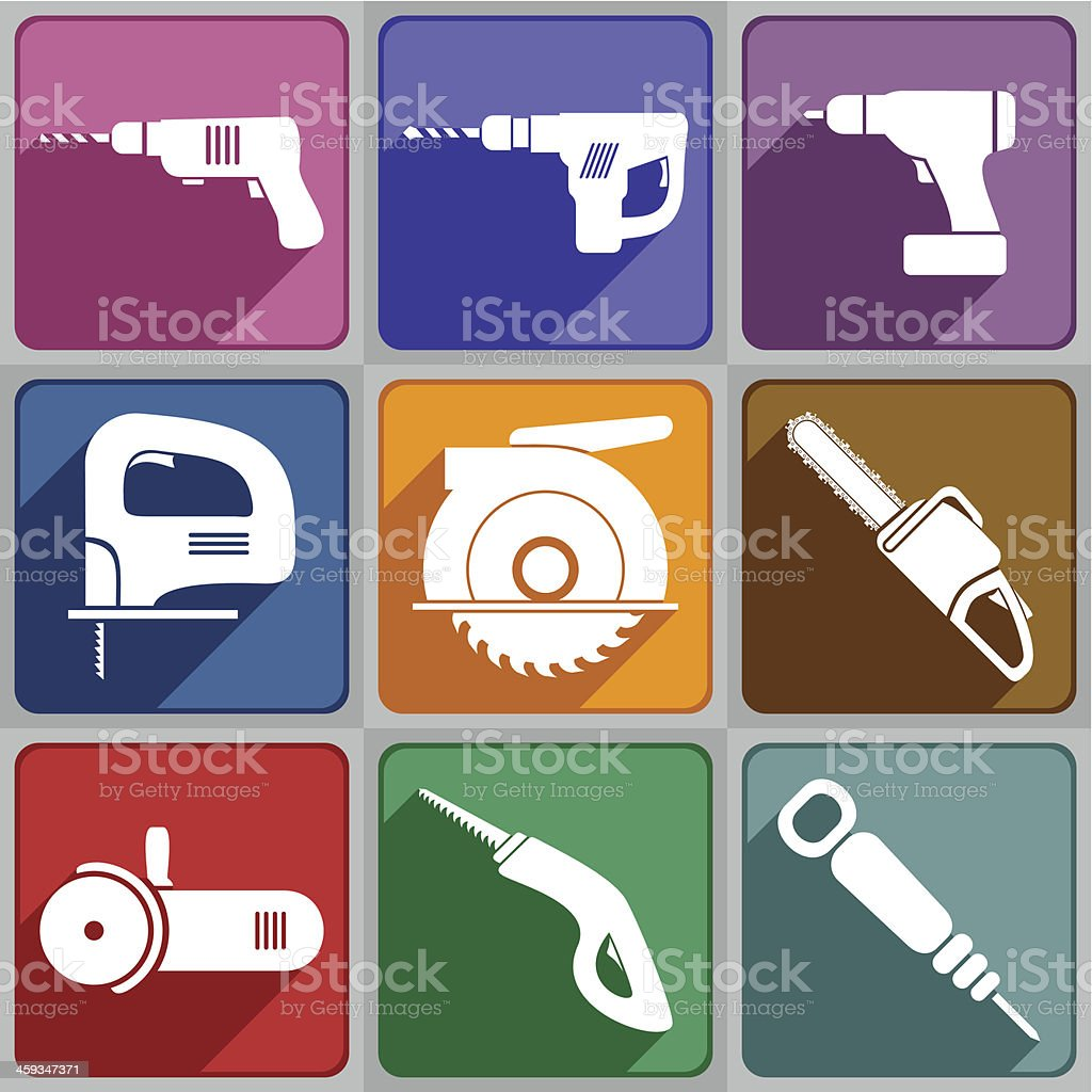 Icons of the electric tools royalty-free stock vector art